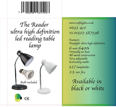 THE READER SMALL ULTRA HIGH DEFINITION DAYLIGHT READING LAMP